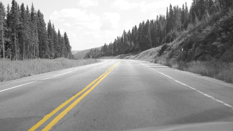 Gele lijn op de weg royalty-vrije stock foto's