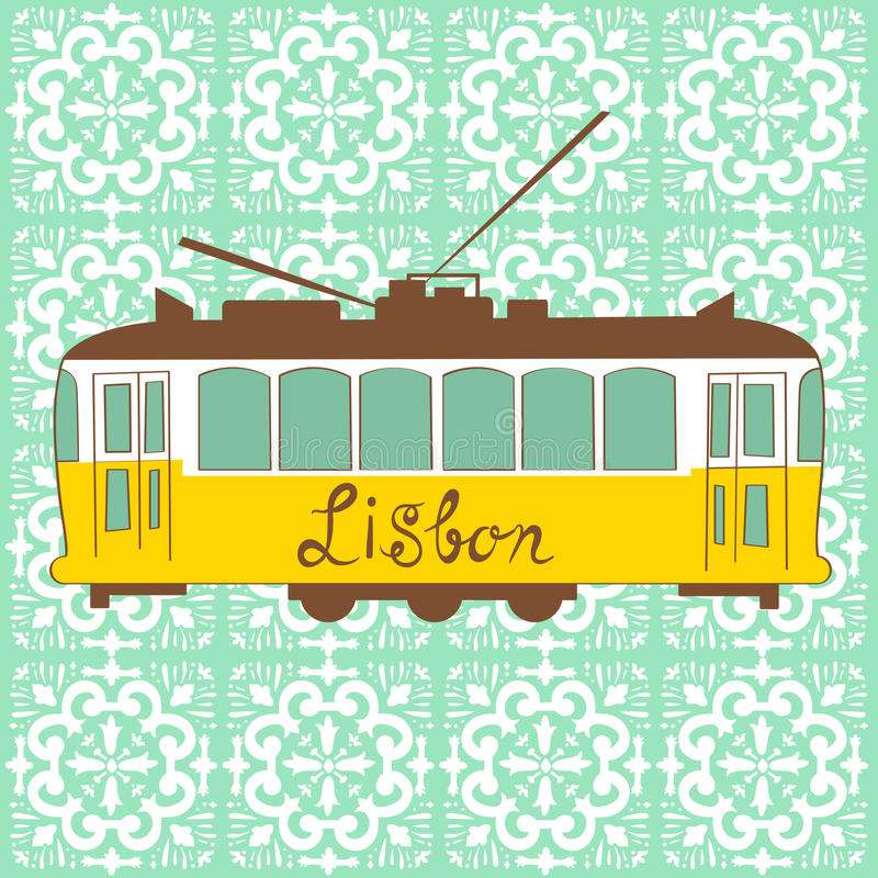 Gele Lissabon tram royalty-vrije illustratie