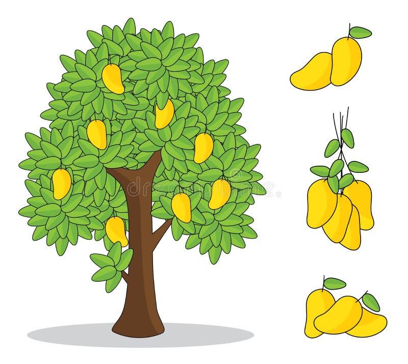 Gele mango op boom met witte achtergrond de geïsoleerde tekening van de krabbelhand stock illustratie