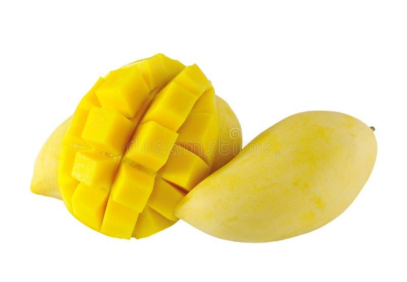 Gele mango op wit stock foto's