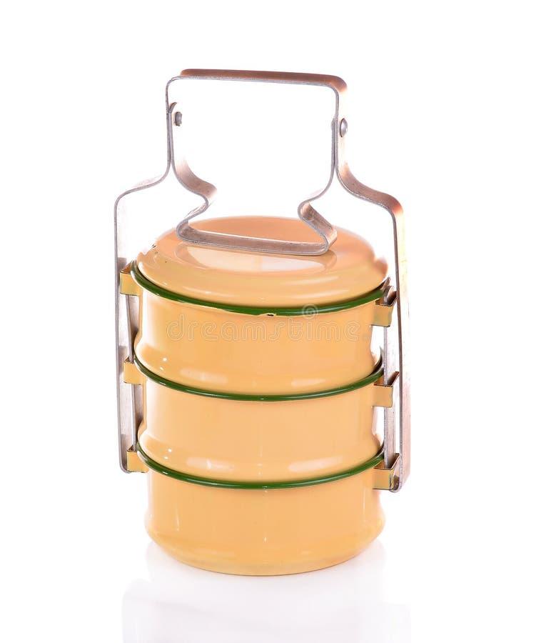 Gele metaaldrager tiffin, antieke Thaise voedseldrager royalty-vrije stock foto's
