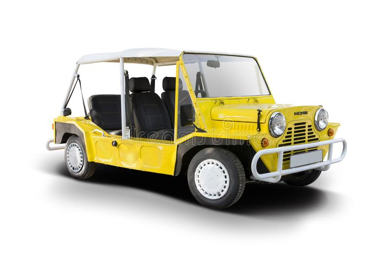 Gele Mini Moke-auto stock foto