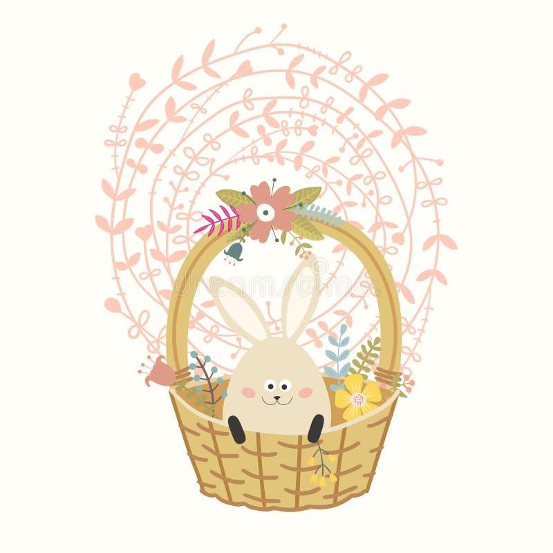 Gele mobiele telefoon Mand met gekleurd ei-konijntje Mooie bloemkroon royalty-vrije illustratie