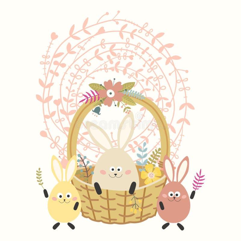 Gele mobiele telefoon Mand met gekleurde ei-konijntjes Mooie bloemkroon stock illustratie