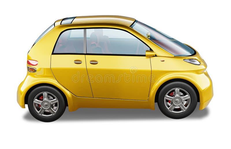 Gele moderne generische kleine stadsauto. stock illustratie