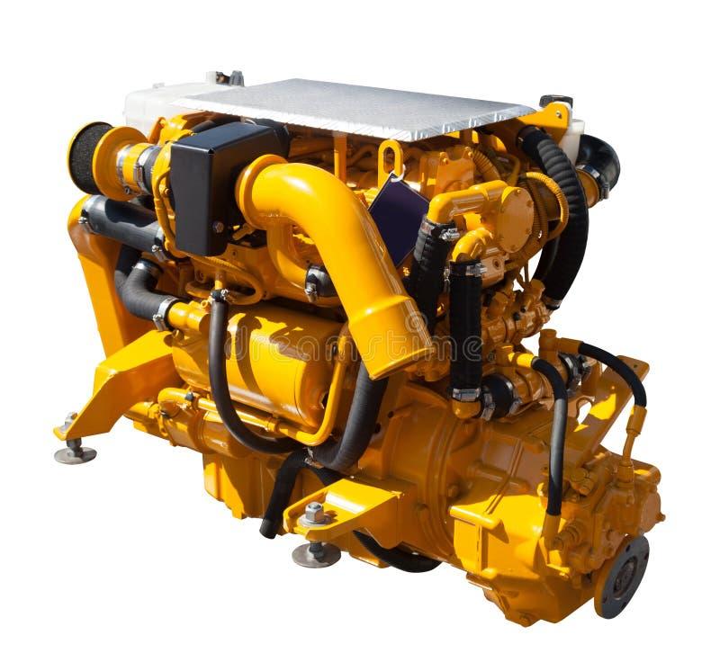 Gele motor. Geïsoleerd over wit stock afbeeldingen