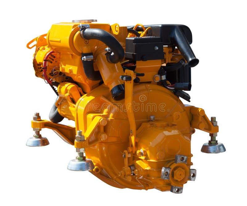 Gele motor. Geïsoleerd over wit stock fotografie