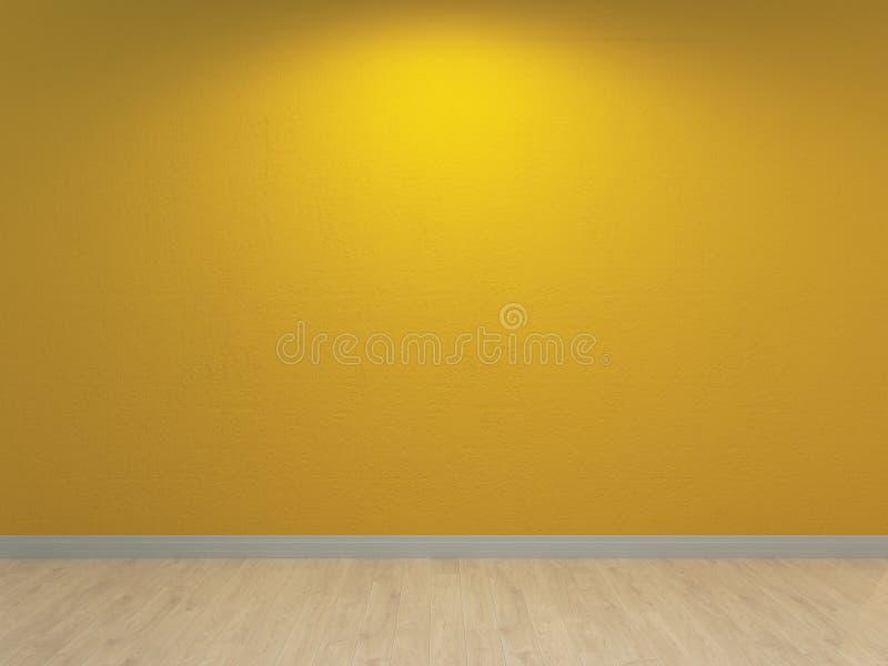 Gele muur, binnenlandse achtergrond Het Xanthous concrete pleisteren en lichte houten vloer vector illustratie