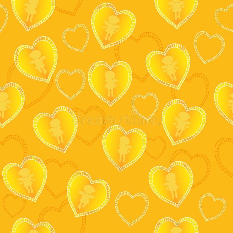 Gele naadloos stock illustratie