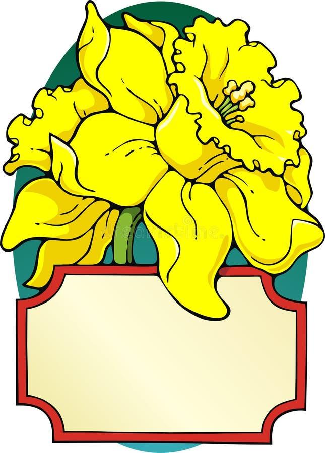Gele narcis bookplate stock illustratie
