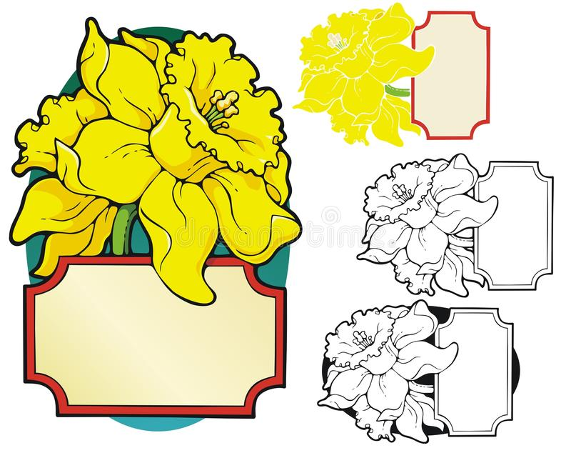 Gele narcis bookplate vector illustratie