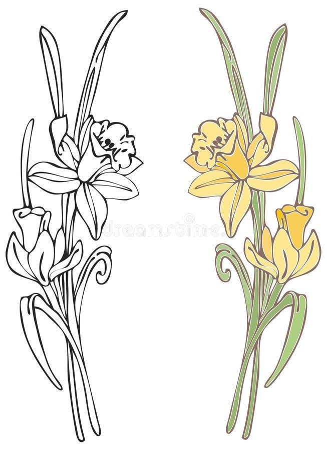 Gele narcissen royalty-vrije illustratie