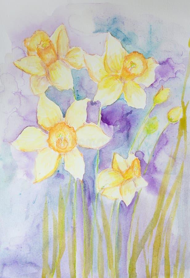 Gele gele narcissen op een turkooise achtergrond vector illustratie