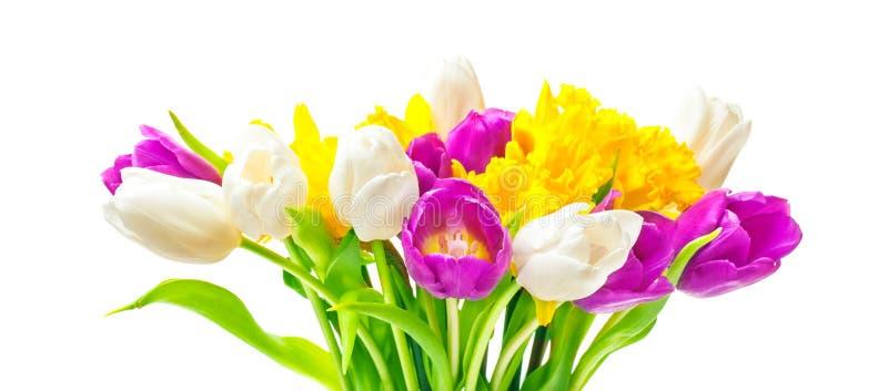 Gele narcissen, tulpen, Pasen-boeket stock foto's