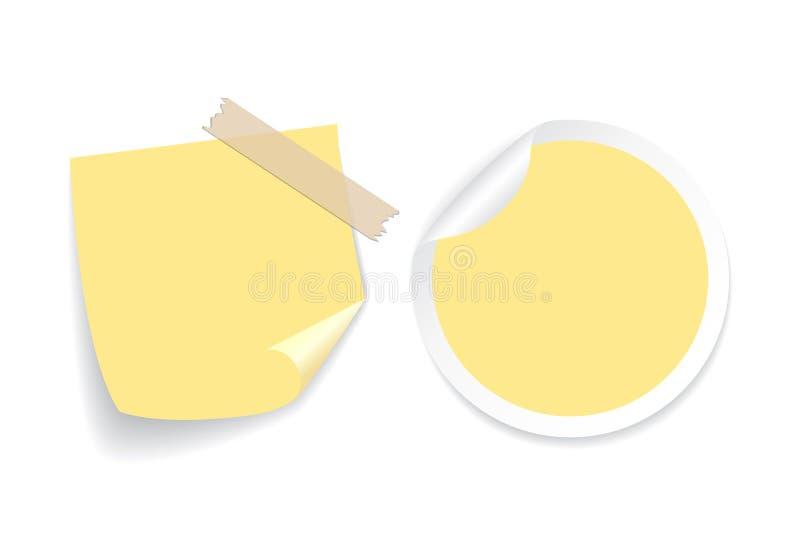 Gele notadocumenten vectorreeks stock illustratie