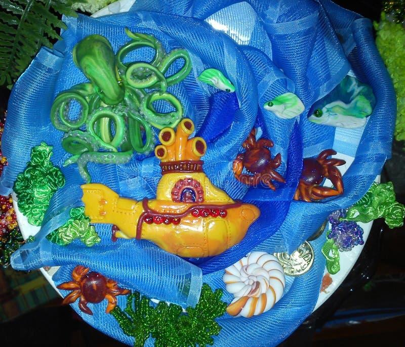 Gele Onderzees, met de hand gemaakt, stock foto