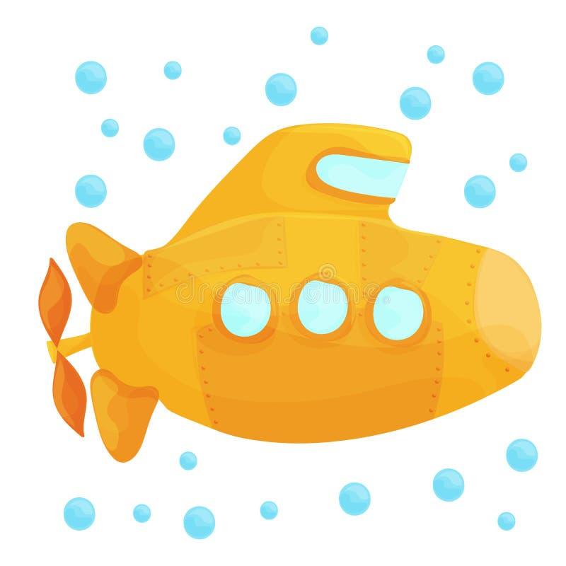 Gele Onderzeese Onderwater op Witte Achtergrond De Stijl van het beeldverhaalontwerp stock illustratie