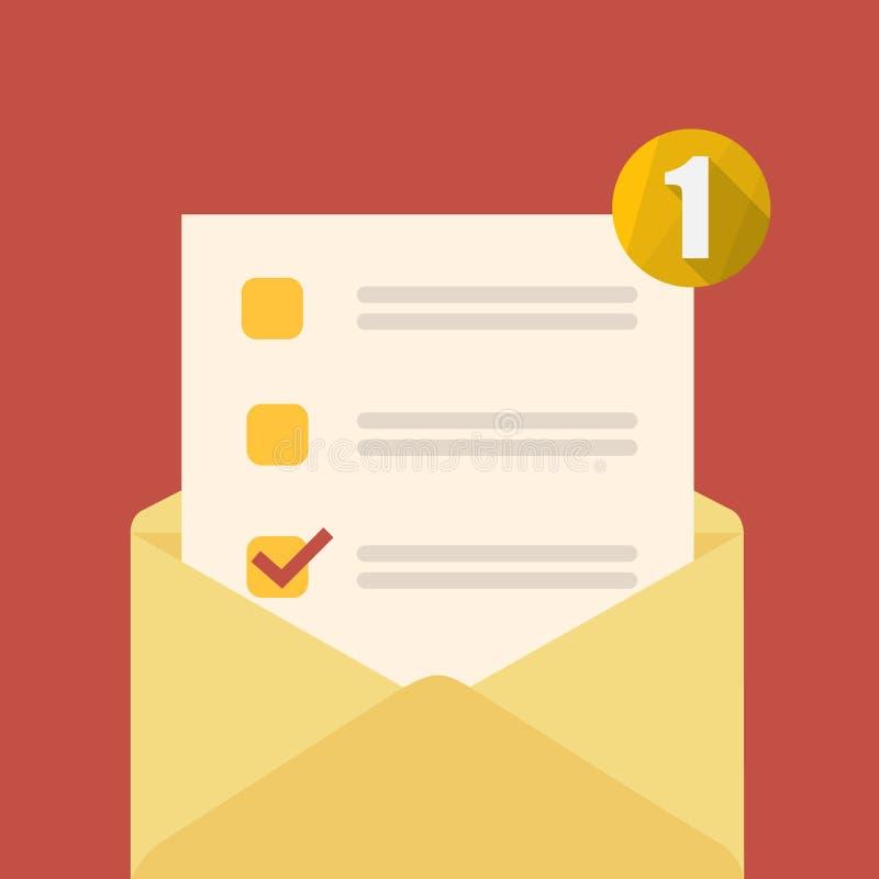 Gele open envelop stock illustratie