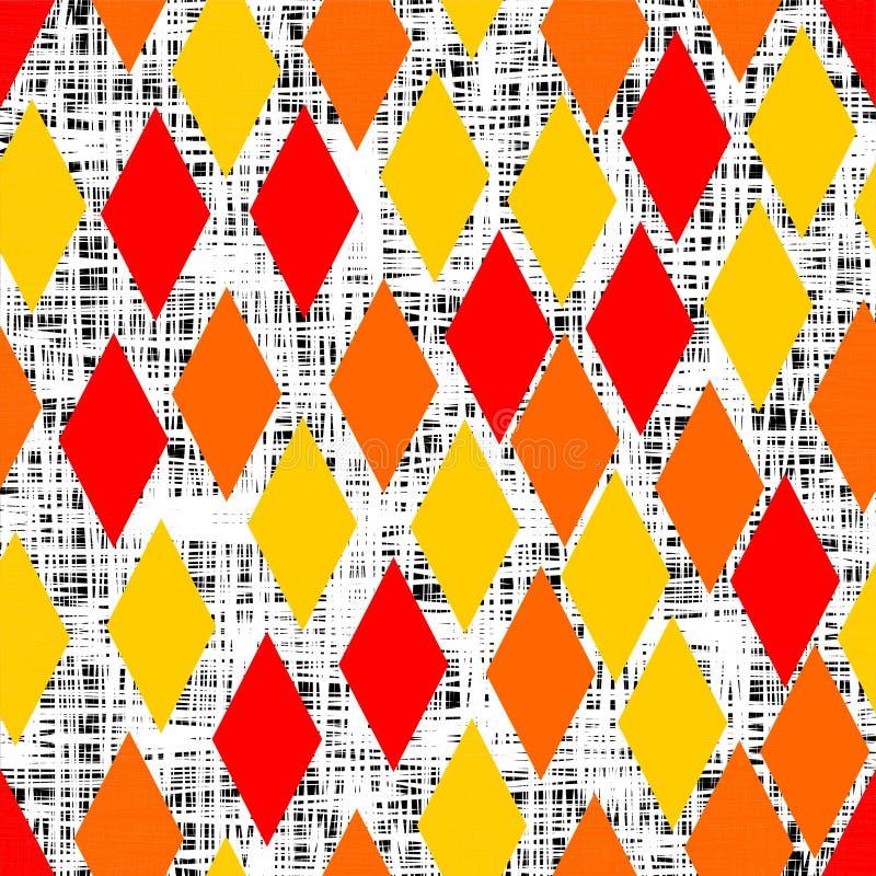 Gele, oranje en rode ruit op zwarte witte krabbelachtergrond vector illustratie