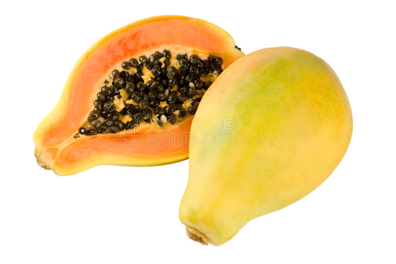 Gele papaja stock foto's