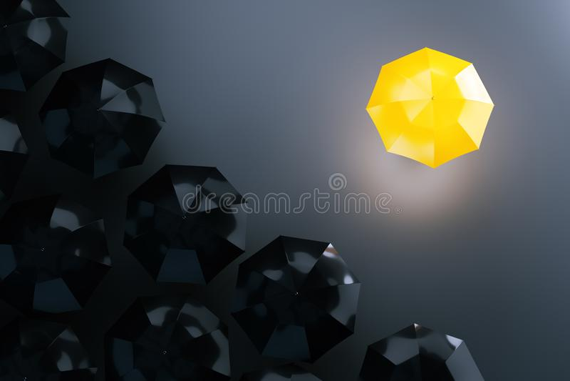 Gele paraplu onder donkere degenen Witte achtergrond vector illustratie