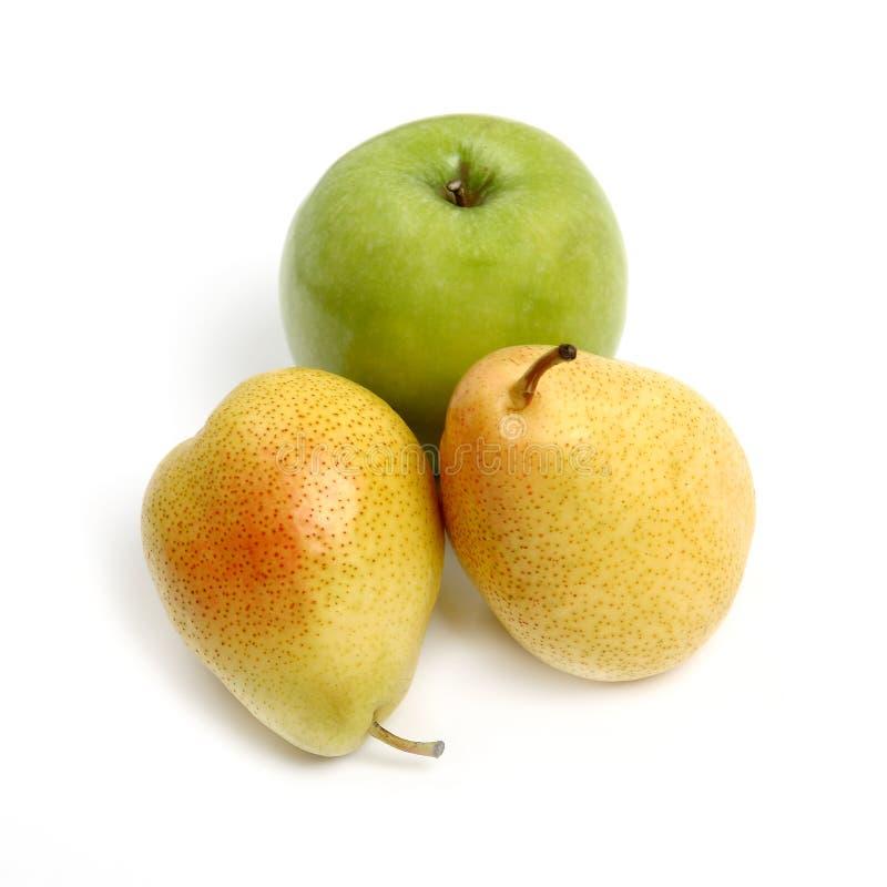 Gele peer en groene appel royalty-vrije stock afbeelding