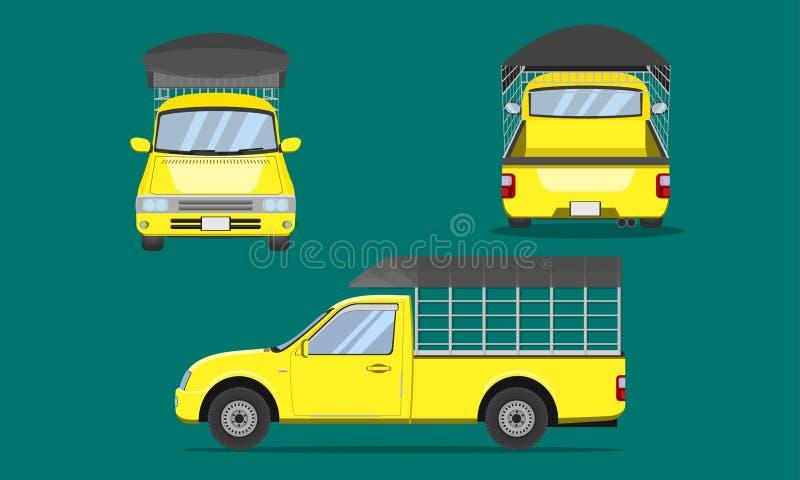 Gele pick-up met grating van het autostaal de plastic van het de meningsvervoer van de hoogste dekkings voorkant achter vectorill vector illustratie