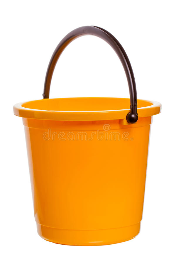 Gele plastic emmer royalty-vrije stock foto's