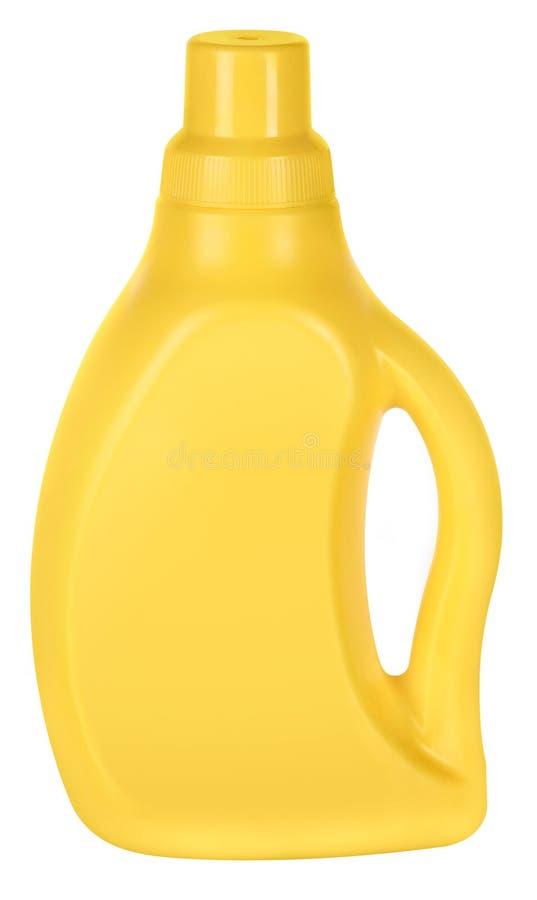 Gele plastic fles royalty-vrije stock foto's