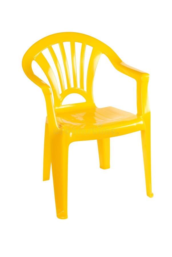 Gele plastic stoel