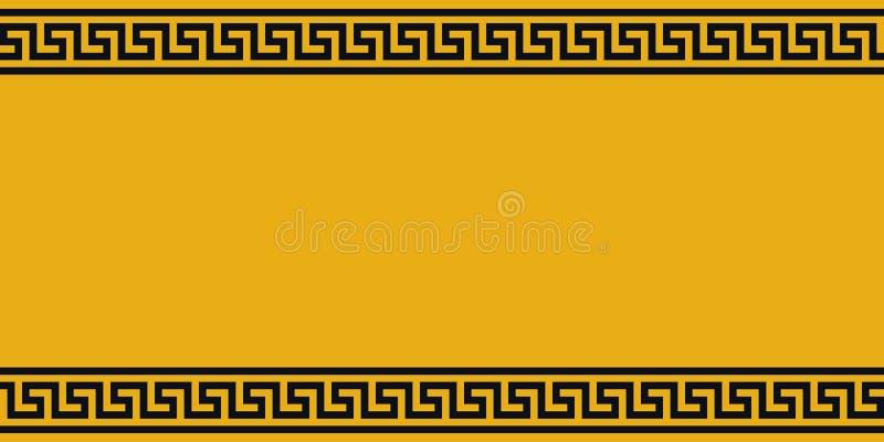 Gele Raad met zwart ethnoornament, vectorgrens geel en zwart Grieks patroon, achtergrond voor waarschuwingenadvertenties vector illustratie