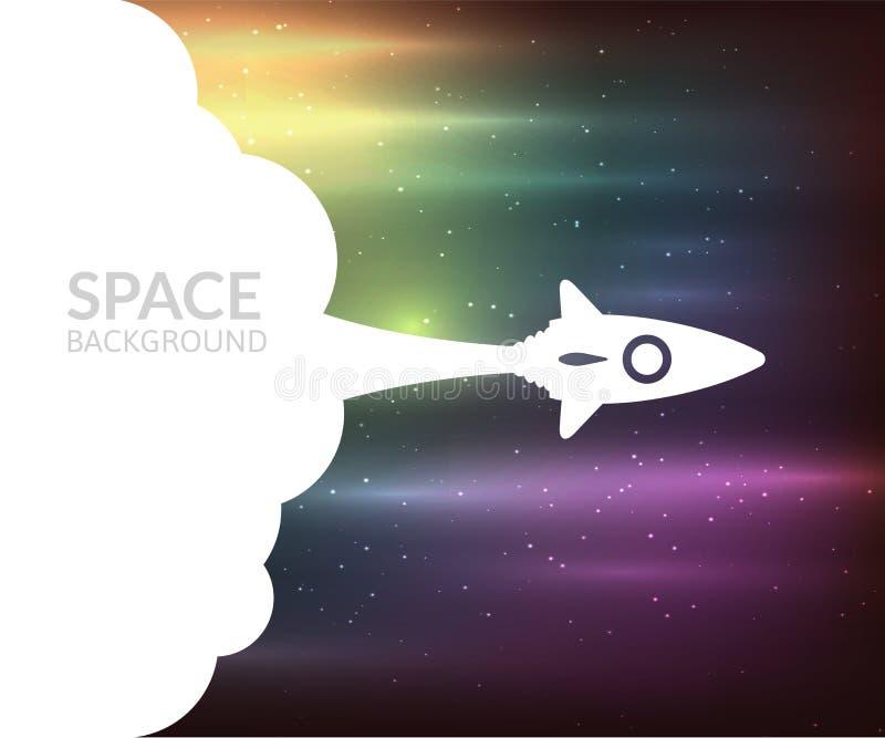 Gele raket en witte wolk, pictogram in vlakke stijl stock illustratie