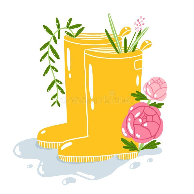 Laarzen Van De Beeldverhaal De Gele Regen Vector Illustratie
