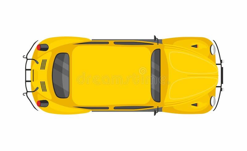 Gele retro auto Hoogste mening royalty-vrije illustratie