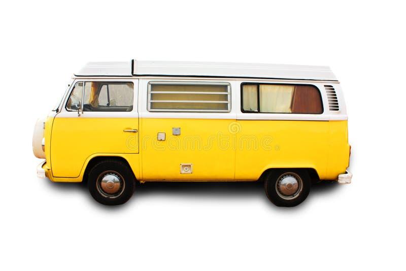 Gele retro bestelwagen royalty-vrije stock afbeeldingen