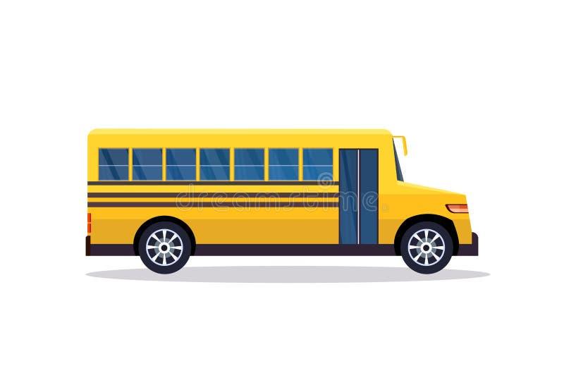 Gele retro bus terug naar het concepten witte van het scholierenvervoer vlakke horizontale banner als achtergrond vector illustratie