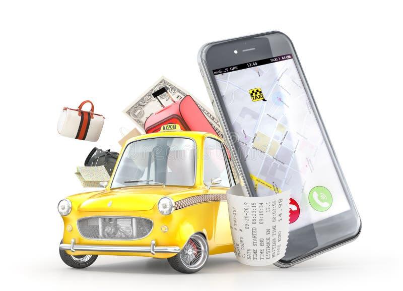 Gele retro taxiauto dichtbij de telefoon met reis vector illustratie