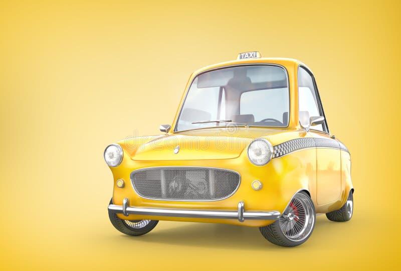 Gele retro taxiauto op een gele achtergrond 3D Illustratie stock illustratie