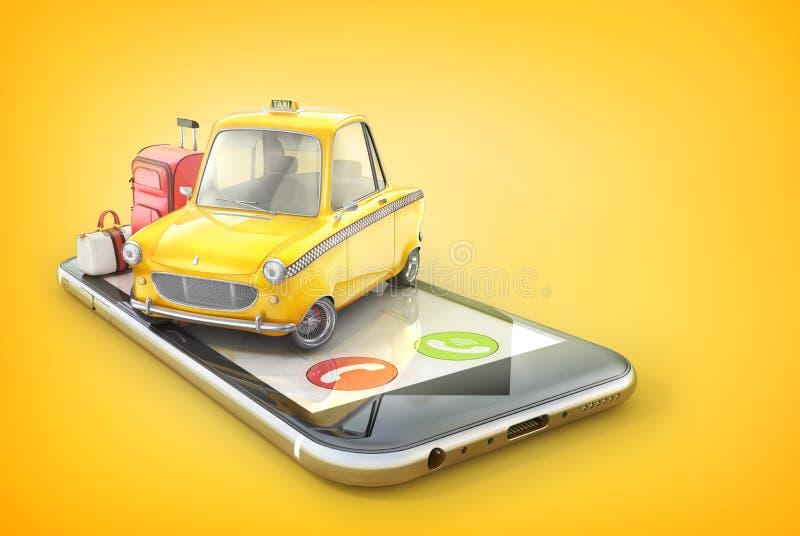Gele retro taxiauto op het telefoonscherm op een yel stock illustratie