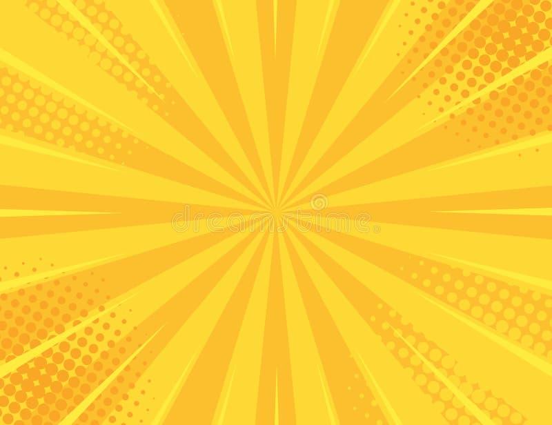 Gele Retro uitstekende stijlachtergrond met de vectorillustratie van zonstralen royalty-vrije illustratie