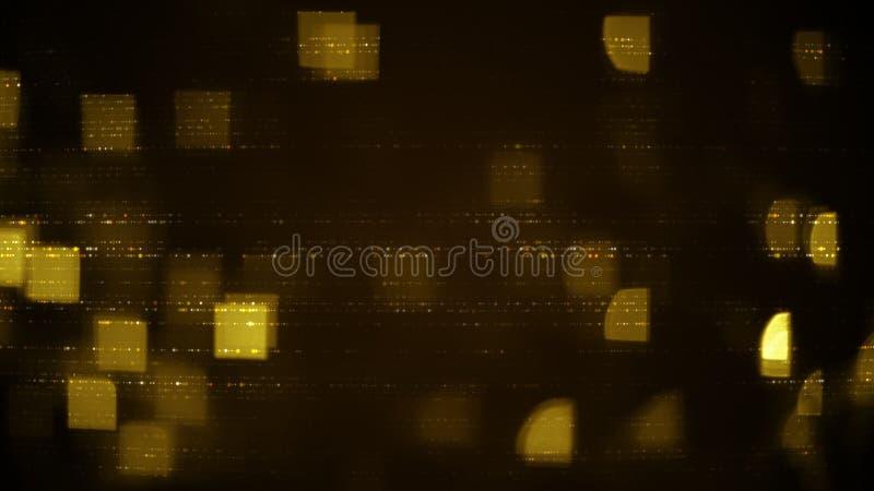 Gele rijen van abstracte symbolen en vierkanten vage lichten stock illustratie
