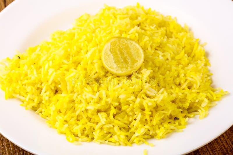 Gele rijst met kalk royalty-vrije stock afbeeldingen