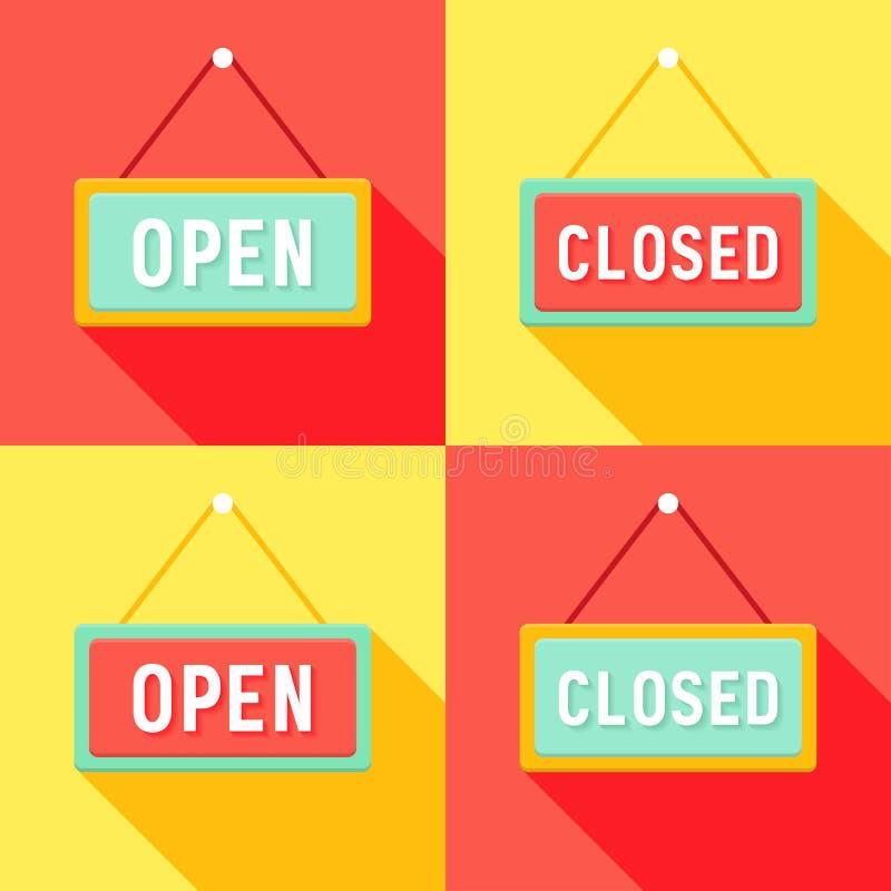 Gele Rode Cyaan Open en Gesloten Geplaatste Tekens stock foto's