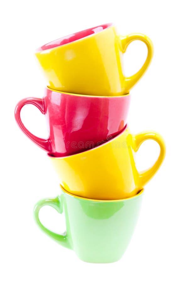 Gele, Rode, Groene Kleurenkoppen. Torenstapel van Schoon Verschillend Cu royalty-vrije stock foto's