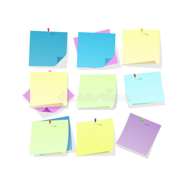 Gele roze en blauwe kleverige notadocumenten stock illustratie