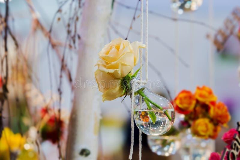 Gele rozen in een bol met water De vaas met het bloeien plant het hangen op een kabel op een achtergrond van onscherp bloemen en  stock afbeelding