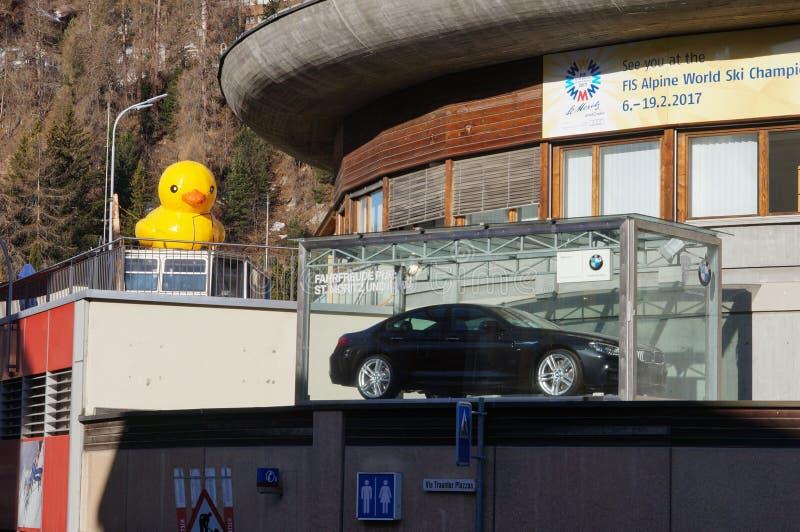 Gele rubbereend in StMoritz, Zwitserland royalty-vrije stock fotografie