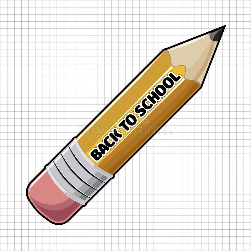 Gele scherpe houten potlood en tekst terug naar School royalty-vrije illustratie