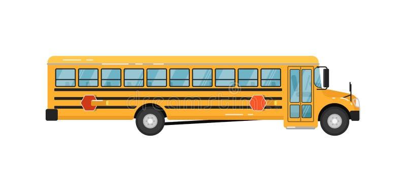 Gele schoolbus geïsoleerde vectorillustratie stock illustratie