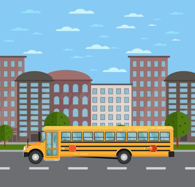 Gele schoolbus op weg in stedelijk landschap royalty-vrije illustratie